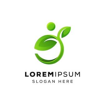 Человек или люди лист логотип дизайн премиум вектор шаблон