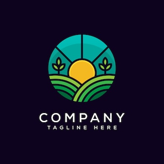 農業のロゴデザインベクトルテンプレート