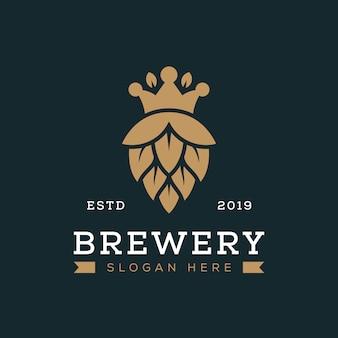 クラウン醸造ロゴ概念ベクトルテンプレート