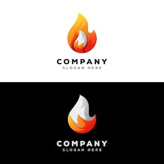 炎のキツネのロゴのテンプレート