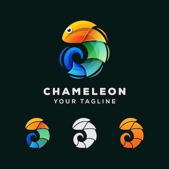 カメレオンのカラフルなロゴデザイン