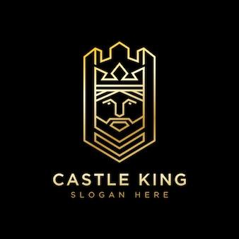 Роскошный замок король логотип дизайн вектор шаблон, геометрические король логотип, линия замок король логотип дизайн