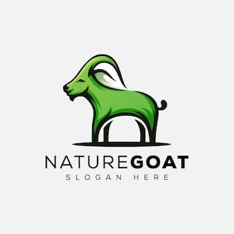 葉のロゴと自然ヤギ