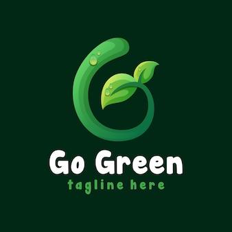Перейти зеленый шаблон логотипа листа