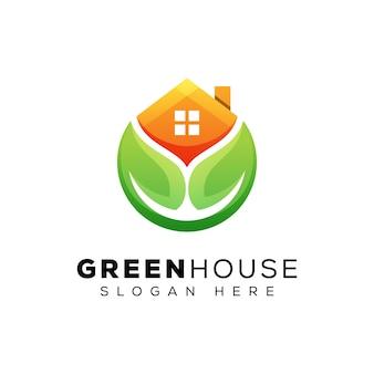 Современный зеленый дом логотип, логотип дома листьев