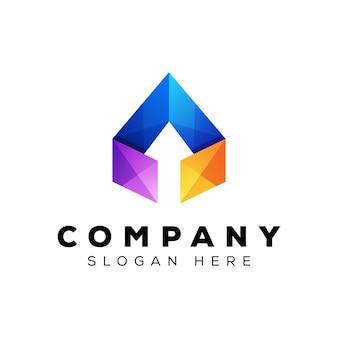 Современная стрелка логотип, красочный треугольник со стрелкой бизнес логотип