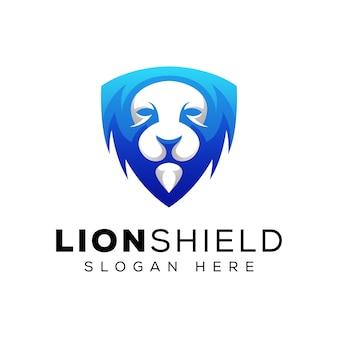 Современный дизайн логотипа щит льва