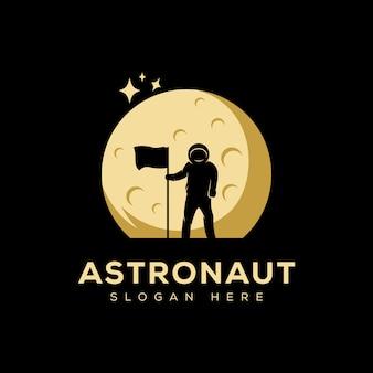 月のロゴ、シルエットの夜月のロゴデザインテンプレートで宇宙飛行士