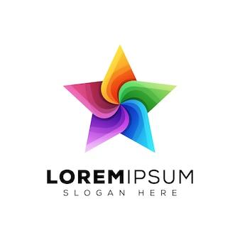 カラフルな星のロゴ、ツイスト星ロゴデザイン