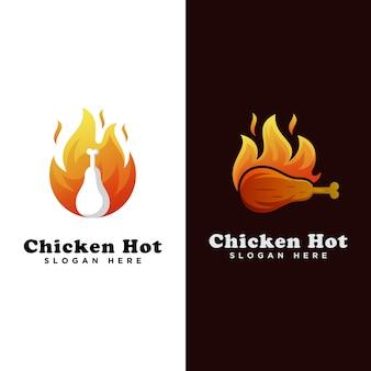 鶏のホットフードのロゴ、鶏のグリルのロゴ、鶏のローストのロゴのテンプレート