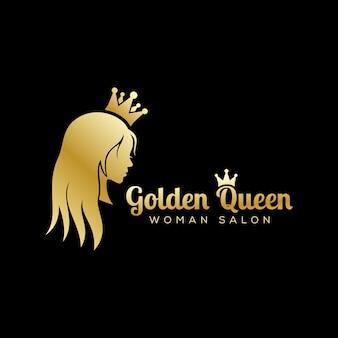 ゴールデンクイーンロゴ、高級ビューティーサロンロゴ、長い髪のロゴデザイン