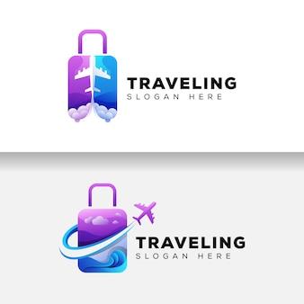 カラフルなスーツケース旅行ロゴ、飛行機の休日のロゴのテンプレート