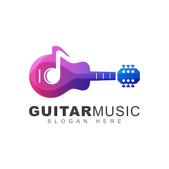 Шаблон логотипа градиента нот современной гитары цвета