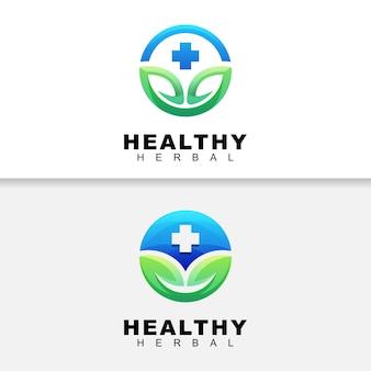 葉のロゴ、医療ハーブのロゴデザインテンプレートでモダンな色の健康的なハーブ