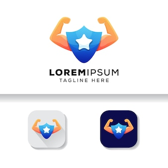 Надежный логотип, щит силовой логотип