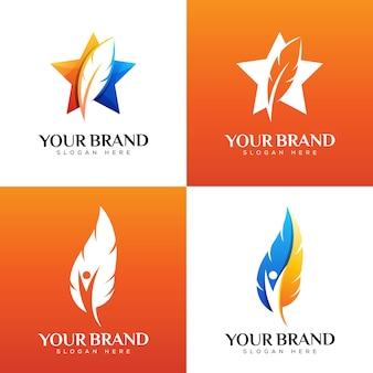 Логотип перо звезды. перо жизни или люди логотип дизайн шаблона