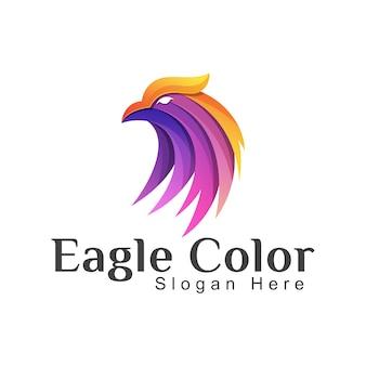 素晴らしいカラフルな頭のワシまたはフェニックスのロゴイラスト。ホーク動物グラデーションロゴデザインテンプレート