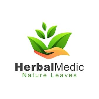 Травяной медик природа оставляет логотип, логотип по уходу за листом, полезные травы для вашего здорового шаблона дизайна логотипа