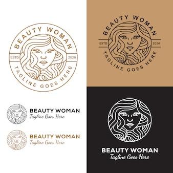 あなたのビジネスサロンや化粧品のラインアート美容女性長い髪のロゴ