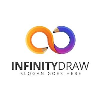 カラフルな無限大は鉛筆のロゴ、教育、アートロゴデザインベクトルテンプレートを描画します