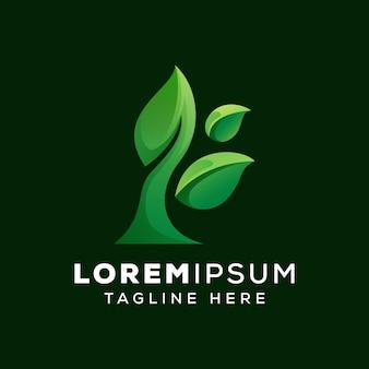 Шаблон логотипа из натуральных листьев