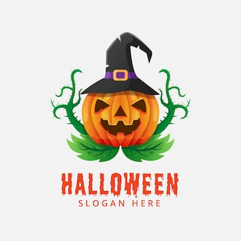 Хэллоуин тыква логотип вектор