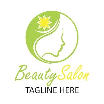 Логотип салона красоты с дизайном женщины