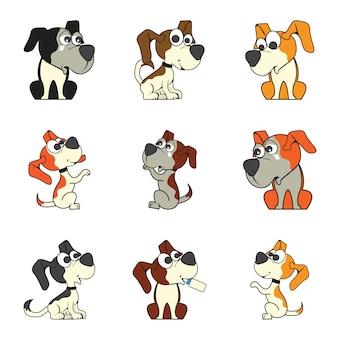 かわいい漫画の犬のセット