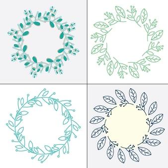 Набор рамок с декоративными весенними цветами свободный вектор