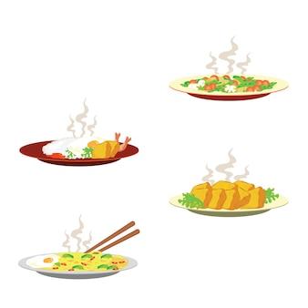 Горячие блюда на тарелке
