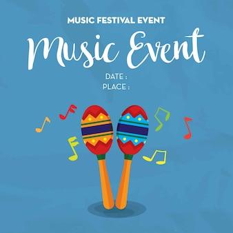 日付と場所のある祭りテンプレートのミュージックポスターイベント