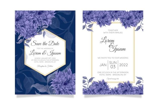 エレガントな結婚式の招待カードテンプレートセットと水彩花の装飾