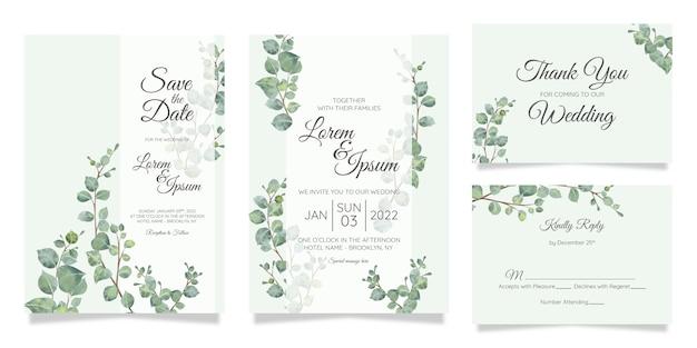 Красивая акварель ботанические свадебные приглашения шаблон с цветами украшения