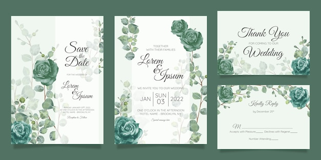 花のフレームで設定された美しい結婚式の招待カードテンプレート