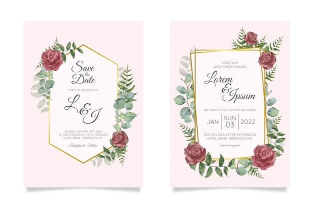 Красивый шаблон свадебного приглашения с геометрической цветочной рамкой