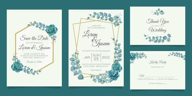 幾何学的な花のフレームで設定された美しい結婚式の招待カードテンプレート