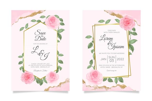 Цветочные свадебные приглашения шаблон с фоном акварель цветочная рамка