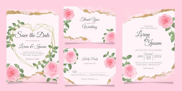 水彩花のフレームの背景を持つ花の結婚式の招待カードテンプレート