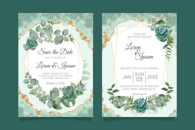 花の結婚式の招待カードテンプレートセット