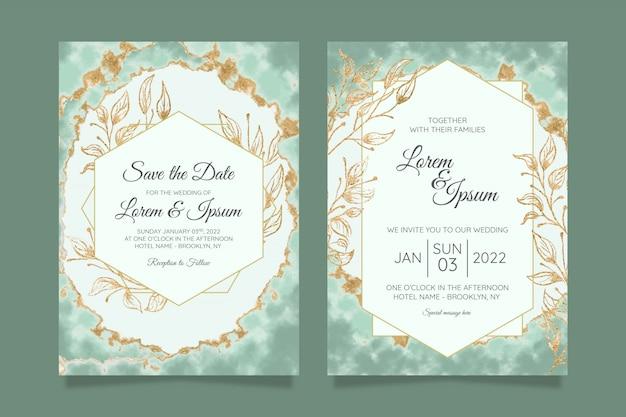 水彩金箔と花の結婚式の招待カードテンプレート