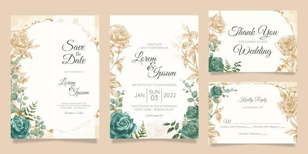 Набор шаблонов цветочные свадебные приглашения