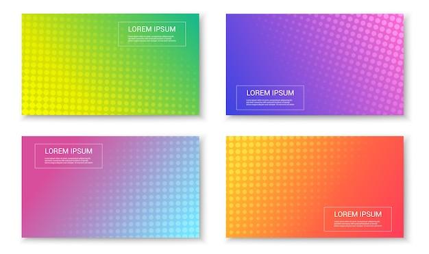 Набор абстрактных ярких красочных модных баннеров