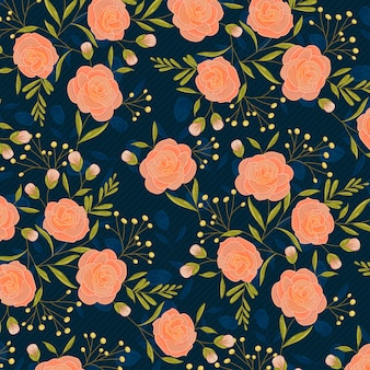 春のバラの手描き模様