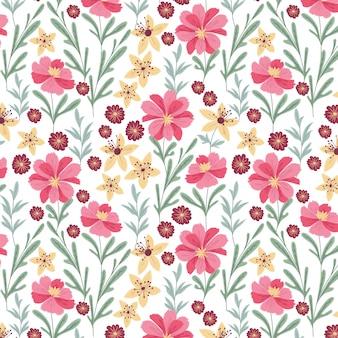 Красивый розовый и желтый цветочный узор