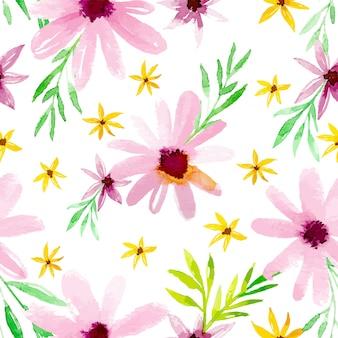 Акварель розовые цветы бесшовные шаблон дизайна