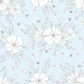 Пастельно-синий цветочный узор
