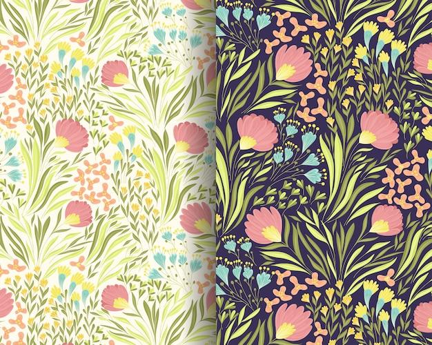 風の花柄パターンデザイン