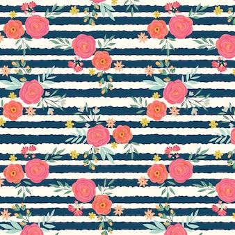 バラとユリの束のシームレスパターン