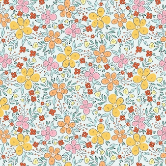 春の庭と花のパターン