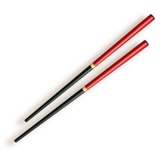 箸、白で隔離される木製の箸